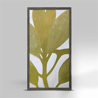 Narrow Canvas Acrylic Stretched Leaves Ii Painting