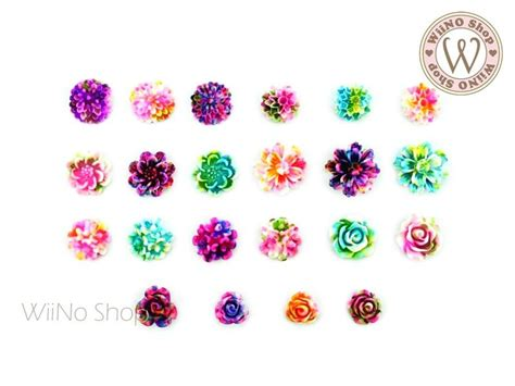 3pcs Colorful Flower Canvas Abstract Painting Print Art: Colorful Flower Nail Art Cabochons