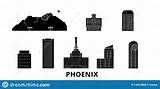 United States, Phoenix Flat Travel Skyline Set. United ...