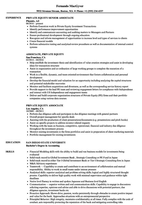 Private Equity Associate Resume Samples  Velvet Jobs