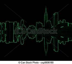 Stock Illustration of new york skyline in neon lights