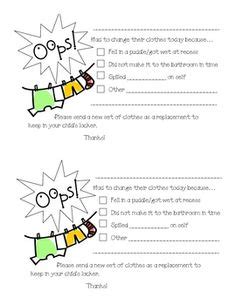 change of clothing parent letter for and spills 1000 images about preschool notes home on 86744