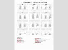 Calendario El Salvador Año 2018 Feriados