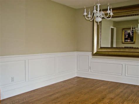 Decorative Wainscoting by House Interior With Large Mirror And Raised Panel