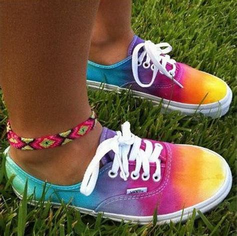 creative rainbow colored shoes