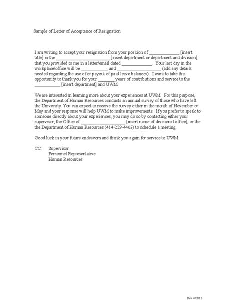 Sample Letter of Acceptance of Resignation Free Download