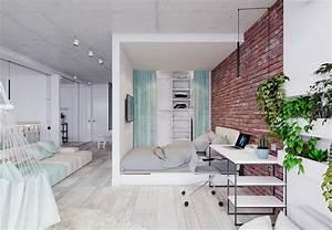 Unique, Apartment, Design, Applied, With, Charming, Style, Decor, And, Light, Mint, Color, Scheme
