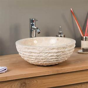 vasque a poser en marbre vesuve ronde creme d 40 cm With salle de bain design avec vasque en pierre à poser salle de bain