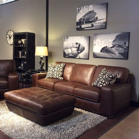 Brown And Grey Sofa by Family Room With Warm Gray Walls Black And White