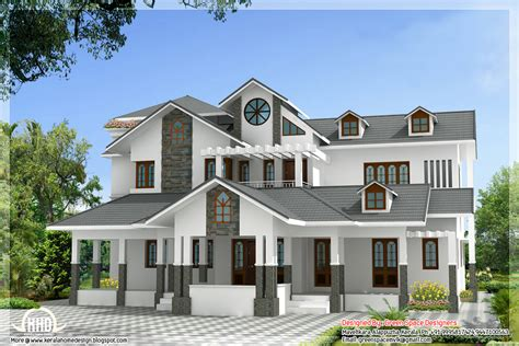 Indian home design with 3 balconies - Kerala home design