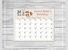 Woodland Animals Baby Shower Guess Baby's Birthday