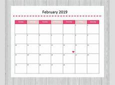 February 2019 Calendar Free Printable Com Weareeachother