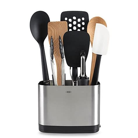 oxo utensil holder oxo grips 174 9 utensil set with stainless steel 1358