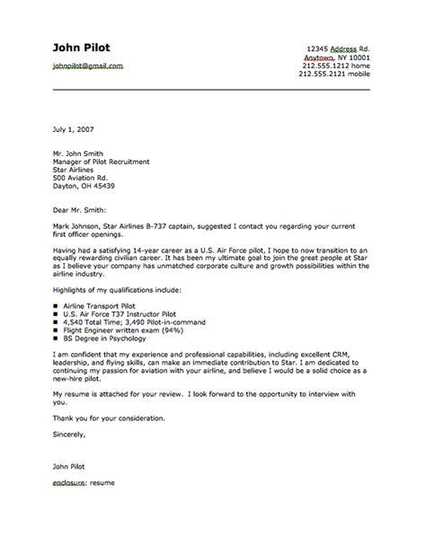 pilot cover letter sle http resumesdesign