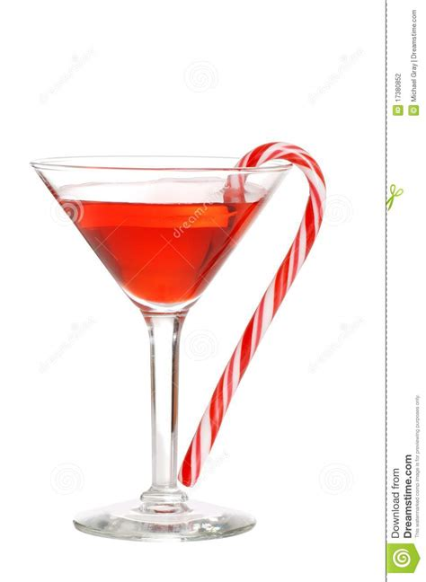 red martini red martini with a candy cane stock photography image