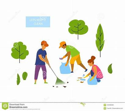 Cleaning Park Vector Graphic Volunteers Isolated Young