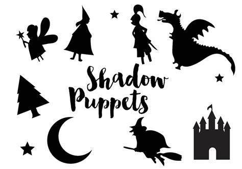 shadow puppet silhouette icon set free vector