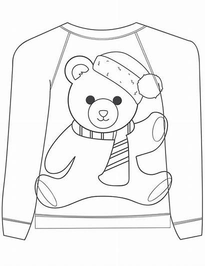 Ugly Sweater Coloring Christmas Pages Bear Teddy