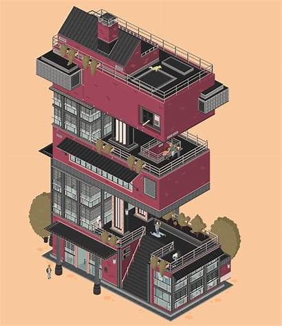 Buildings Letters Gifs Architectural Into Building Turn