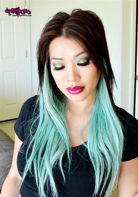 Green Hair Pastel Hair Mint Pale Green Blue Asian Ombre