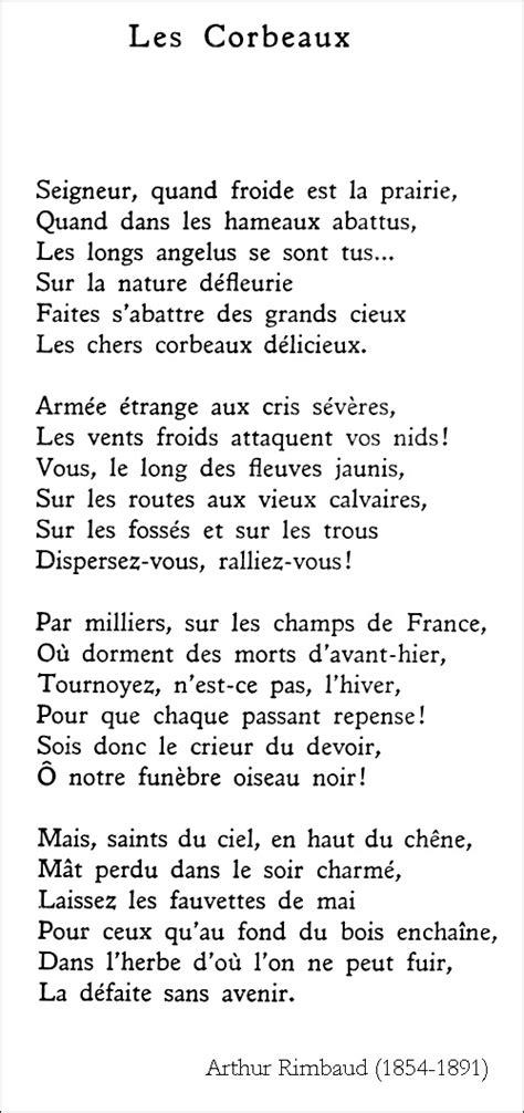 Le Dormeur Du Val Analyse Histoire Des Arts by Arthur Rimbaud Les Corbeaux 192 La Fran 231 Aise