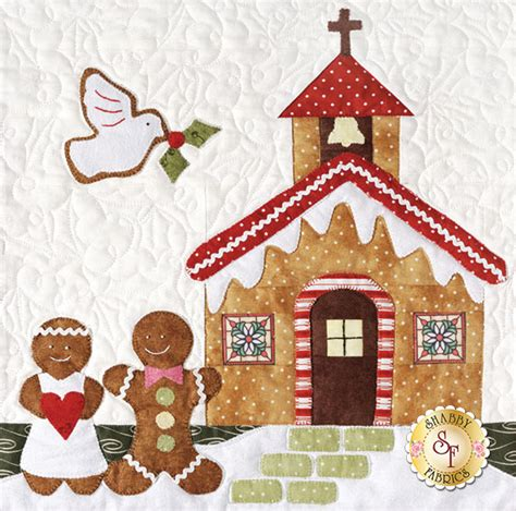 shabby fabrics gingerbread gingerbread village set of 7 patterns accessory fabric packet