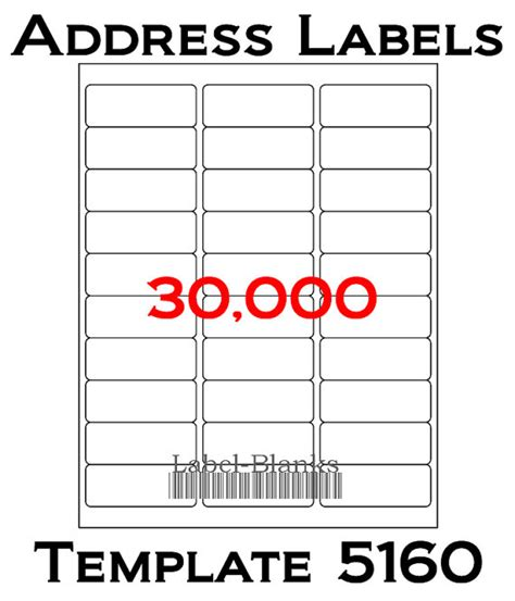 Blank Label Templates 30 Per Sheet by Laser Ink Jet Labels 1000 Sheets 1 X 2 5 8