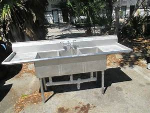 Stainless Steel 3 Bay Wash Rinse Sink 84