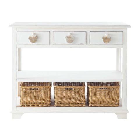 table console en bois blanche   cm basse cour maisons du monde
