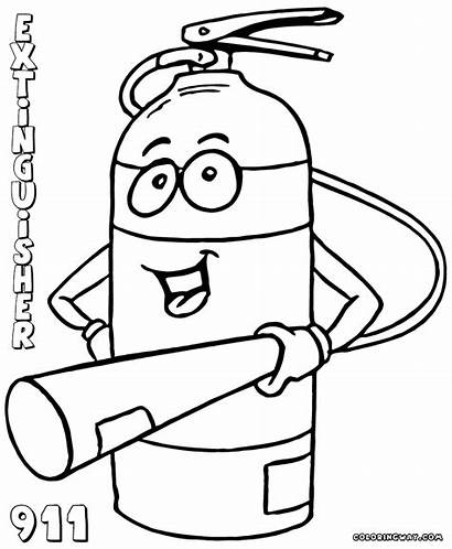 Extinguisher Fire Coloring Pages Drawing Prevention Printable