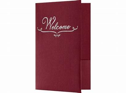 Welcome Folders Foil Burgundy Stamped Pockets Standard