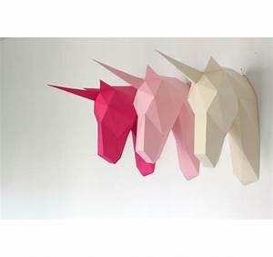 Trophée Animaux Origami : troph e mural licorne papier artwall and co ~ Teatrodelosmanantiales.com Idées de Décoration