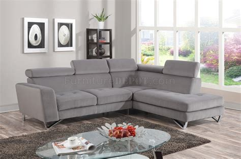 4025 Sectional Sofa In Grey Fabric Micro Chenille