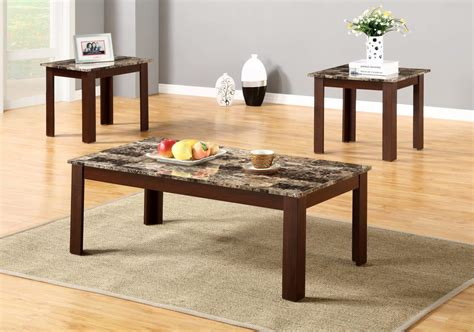 Marble End Tables Living Room : 3 Piece Faux Marble Coffee And End Table Set