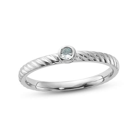 stackable ring aquamarine sterling silver  kay