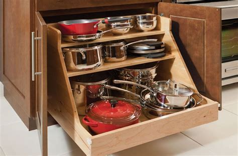 Simple Kitchen Ideas With Wooden Base Roll Out Pots Pans