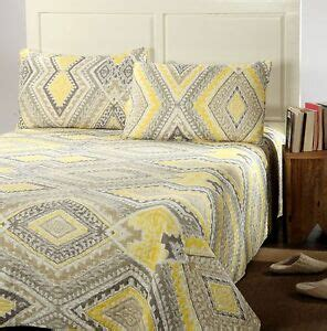 Yellow Coverlets by Tache Modern Yellow Gray Grey Summer Reversible