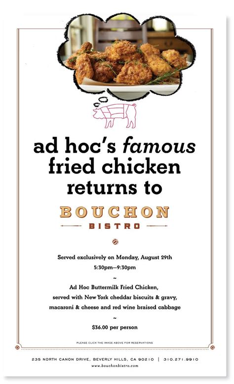 ad hoc cuisine ad hoc fried chicken at bouchon cox the