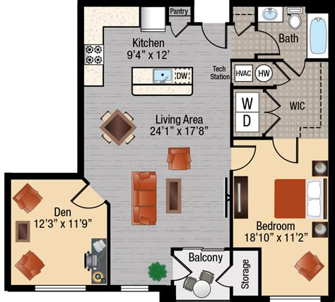 apartment size gas 1 bedroom apartments with a den in frederick maryland