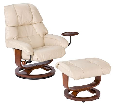 style recliner and ottoman in taupe leather