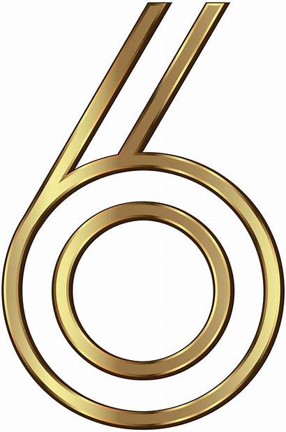 Number Golden Clip Six Clipart Numbers Decorative