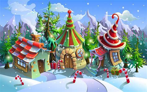 christmas village santa claus house art image wallpaper hd