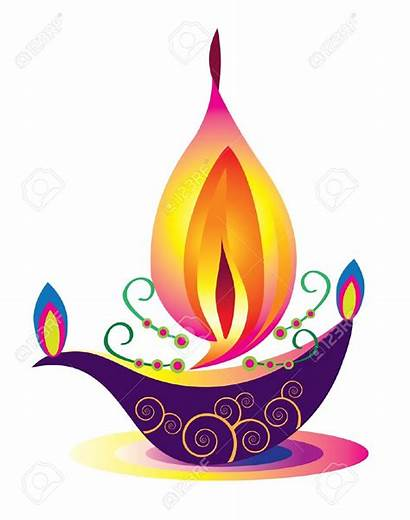 Lamp Oil Indian Vector Clipart Flame Lamps