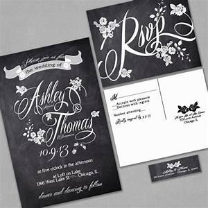 chalkboard wedding invitation custom typography and roses With black and white handmade wedding invitations