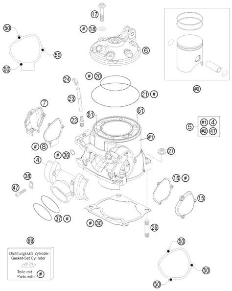 Ktm Sx 85 Wiring Diagram by Ktm Fiche Finder Cylinder Spare Parts For The Ktm 250 Sx