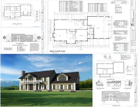 custom house plans country estate dwg pdf building plans