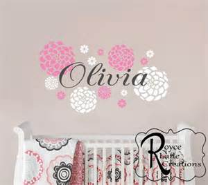 Nursery Name Plaques by Baby Nursery Decal Baby Name And Dahlia Flowers