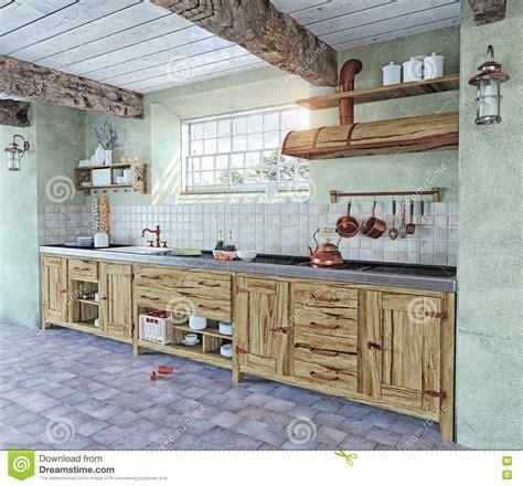 cuisine l intérieur à l 39 ancienne de cuisine illustration stock