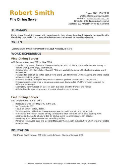 fine dining server resume samples qwikresume