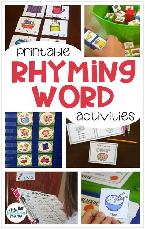 printable rhyming activities  kids  reading mama
